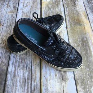 Sperry Bahama Top Sider Black Glitter